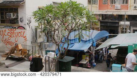 Central, Hong Kong, 08 February 2021: Hong Kong outdoor stall at Gage Street