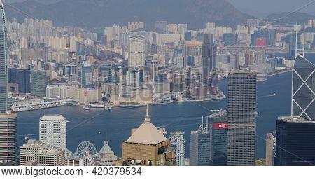 Victoria Peak, Hong Kong 05 February 2021: Hong Kong landmark