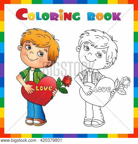 Coloring Page Outline Of Cartoon Boy With Rose In Hand With Heart. Valentine's Day. Coloring Book Fo