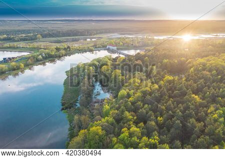 The Bobr River In Western Poland. A Section Of The River Near The City Of Zagan. It Is Spring, After