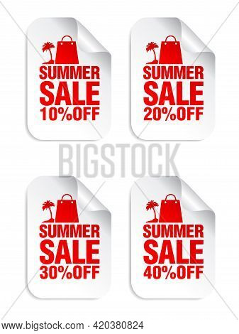Summer Sale White Stickers Set With Shopping Package And Palm Red Icon . Sale Stickers 10%, 20%, 30%