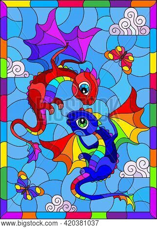 Stained Glass Illustration With Bright Cartoon Dragons Against A Cloudy Blue Sky, In A Bright Frame