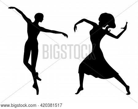 Abstract Black Stencil Silhouettes Of Charming Ladies Dancer In Move, Hand Drawing Vector Illustrati