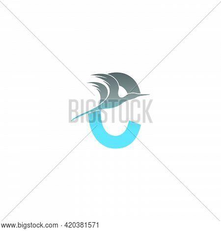 Letter C Logo With Pelican Bird Icon Design Vector