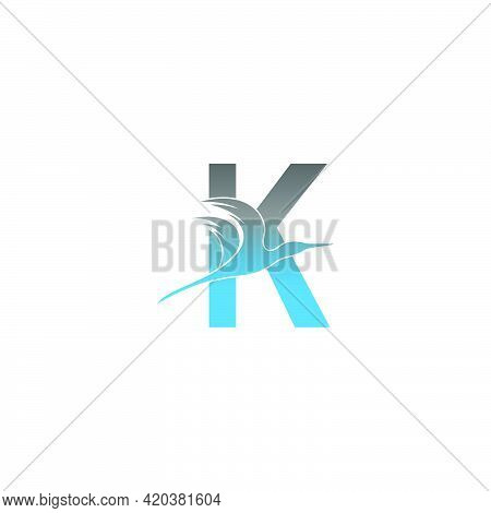 Letter K Logo With Pelican Bird Icon Design Vector