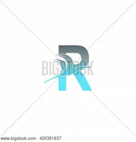 Letter R Logo With Pelican Bird Icon Design Vector