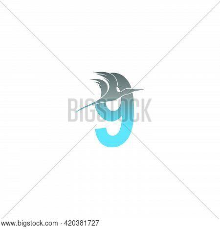 Number 9 Logo With Pelican Bird Icon Design Vector