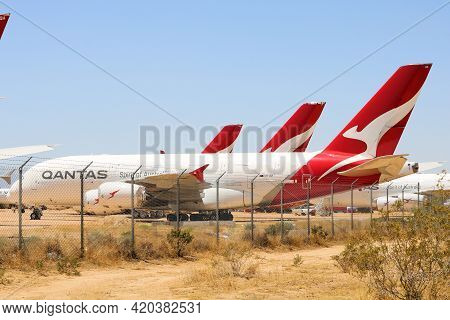 May 12, 2021 In Victorville, Ca:  Modern Airbus A380 Aircraft Stored In The Victorville, Ca Aircraft