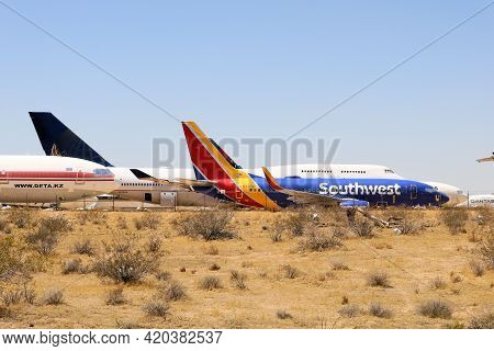 May 12, 2021 In Victorville, Ca:  Abandoned Airliner Aircraft Used For Aircraft Parts Parked On An A