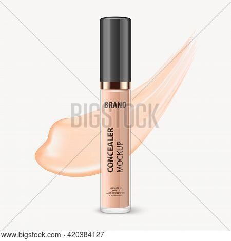 Vector 3d Realistic Closed Lip Gloss, Foundation, Concealer, Corrector Package, Black Cap And Lip Gl