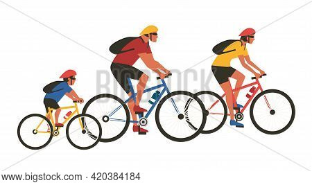 Family Biking Sport Activity Flat Color Vector. Mom, Dad, Son Ride Bicycles Cartoon Design Element I