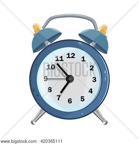 Alarm Clock Isolated On White Background. Blue Retro Alarm Clock In Cartoon Style. Wake Up Time With