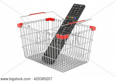Shopping Basket With Tv Remote Control, 3d Rendering Isolated On White Background
