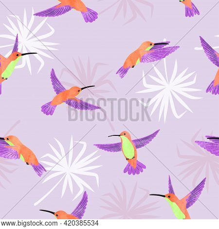 Hummingbirds Pattern. Seamless Tropic Background With Birds.