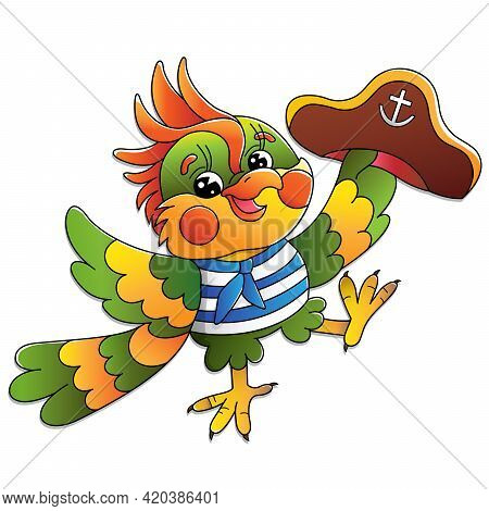 Cartoon Joyful Parrot Sailor. Vector Image For Pirate Party For Children. Colorful Illustration For
