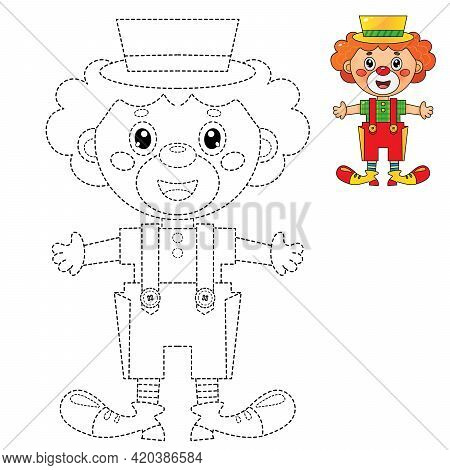 Connect The Dots Picture. Tracing Worksheet. Puzzle For Kids. Coloring Page Outline Of Cartoon Circu