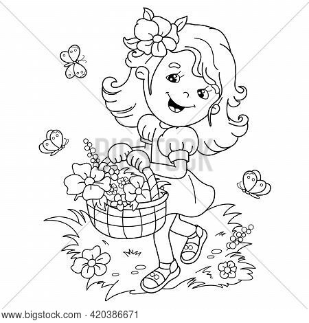 Coloring Page Outline Of Cartoon Girl With A Basket Of Flowers. Summer Activity. Coloring Book For K