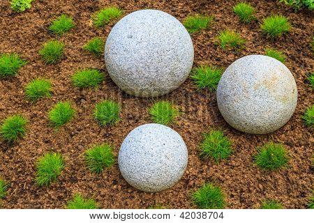 Japanese Zen Garden With Granite Stone Boulders