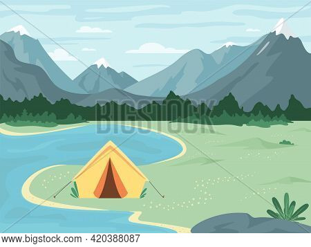 Camping Landscape. Vector Concept Of Outdoor Recreation, Adventures In Nature, Family Vacation. Tent