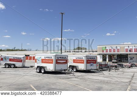 Indianapolis - Circa May 2021: U-haul Moving Truck Rental Location. U-haul Offers Moving And Storage