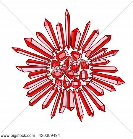 Mosaic From Gemstones. Ruby Red Sun With Rays. Glass Crystals. Color Vector Illustration With Contou