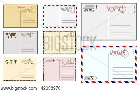 Set Of Postcard Blank Template Or Postal Greeting Card Vintage Or Christmas Holiday Postal Card Or P