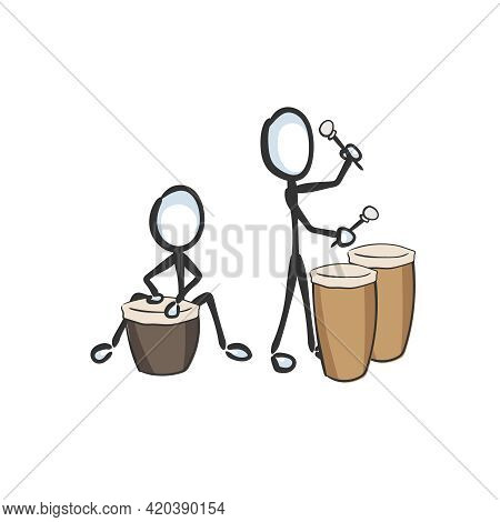 Drum Beat. African Music Instrument Vector Simple. Playing Drums. Stickman No Face Clipart Cartoon.
