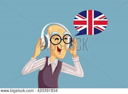 Senior Man Wearing Headphones Learning English Language
