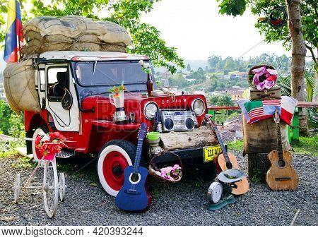 SALENTO, COLOMBIA, AUGUST 17, 2018: Street scene in Salento, Colombia, South America