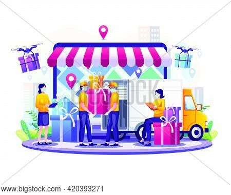 Online Delivery Service With Courier Wearing Mask And Truck Delivery Van And Drone Flat Vector Illus