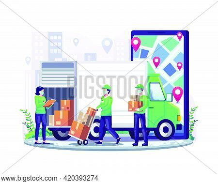 Online Delivery Service With Courier Wearing Mask And Giant Smartphone And Truck Delivery Van Flat V