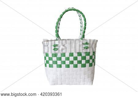 Weave Basket Handmade Made From Plastic Strands Isolated On White Background Included Clipping Path.
