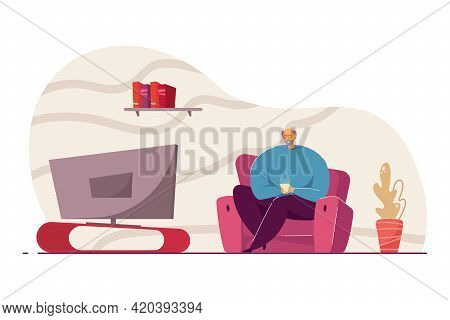 Old Man With Cup Of Coffee Watching Tv Vector Illustration. Retired Man Sitting On Sofa, Spending Ti