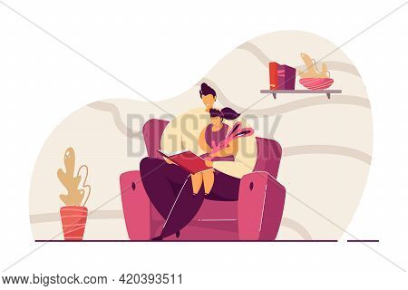 Father Reading Book To Daughter Flat Vector Illustration. Little Girl Sitting On Mans Lap, Listening