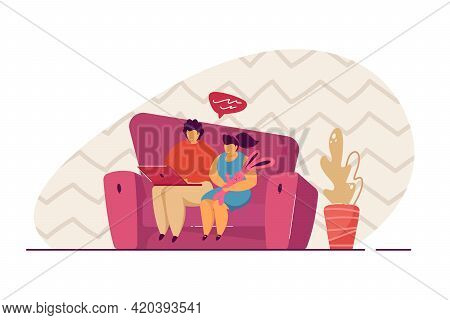 Brother And Sister Sitting On Sofa And Using Laptop. Flat Vector Illustration. Boy And Girl Having V