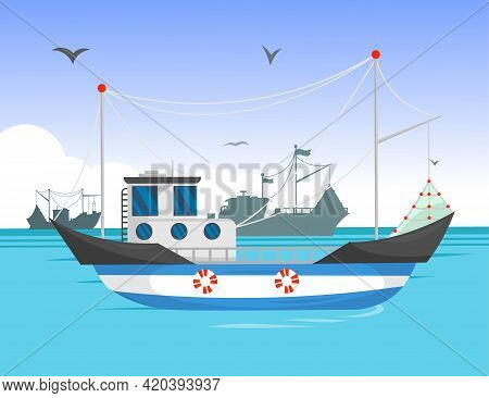 Trawler Sailing In Daylight Cartoon Illustration. Commercial Fishing Boat On Water, Silhouettes Of S