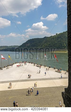 Koblenz, Germany - July 07, 2018: View Of The German Corner, Where The Moselle Flows Into The Rhine