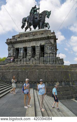 Koblenz, Germany - July 07, 2018: People Rest Near Monument To Kaiser Wilhelm I In Koblenz