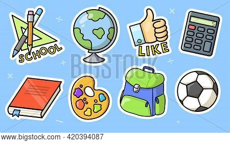 School Suppliers Stickers Set For T-shirt Design. Flat Vector Illustrations Of Book, Ball, Paints, B