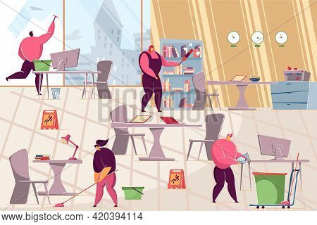 Team Of Janitors Cleaning In Office. Flat Vector Illustration. Professional Workers Cleaning Up Mess