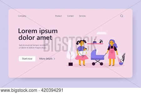 Cheerful Girls Playing Dolls. Role Game, Acting Mom, Toy Stroller. Flat Vector Illustration. Childho