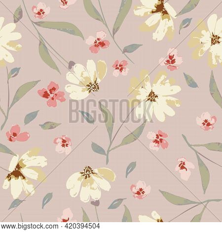 Watercolor Style Beige And Pink Flowers In Peach Background Seamless Pattern Print. Great For Weddin