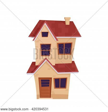 Detailed Cute House, Suburban Cottage In Cartoon Style Isolated On White Background. Front View With