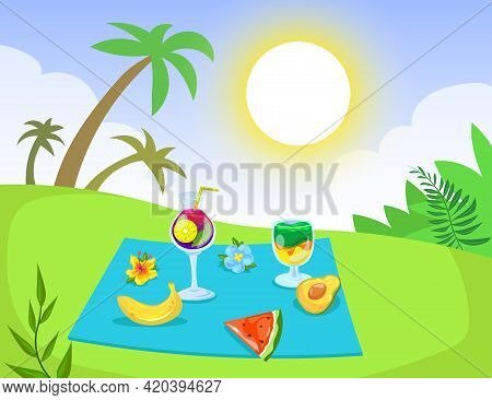 Picnic With Fruit And Drinks On Tropical Background Illustration. Banana, Watermelon, Avocado, Cockt