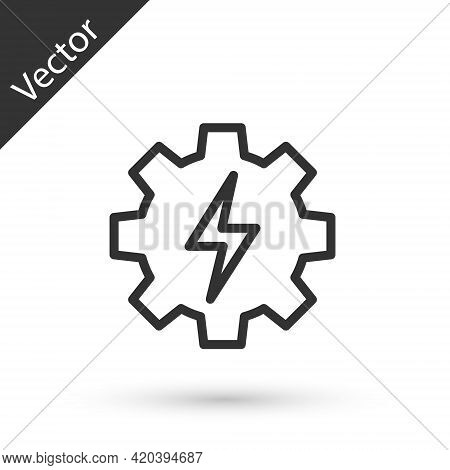 Grey Line Gear And Lightning Icon Isolated On White Background. Electric Power. Lightning Bolt Sign.