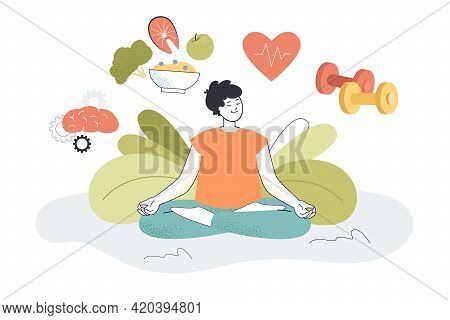 Young Man With Good Mental And Body Health. Happy Cartoon Person Meditating Flat Vector Illustration