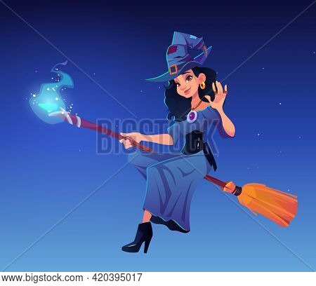 Witch Party Cartoon Vector Illustration, Beautiful Woman In Magician Hat An Dress Flying On Broom. D