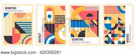 Bauhaus Posters. Abstract Geometric Patterns, Circles, Triangles And Square Bauhaus Banner Vector Il