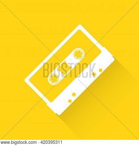 Audio Cassette. Retro Audio Cassette Icon On A Yellow Background. Vector Illustration. Vector.
