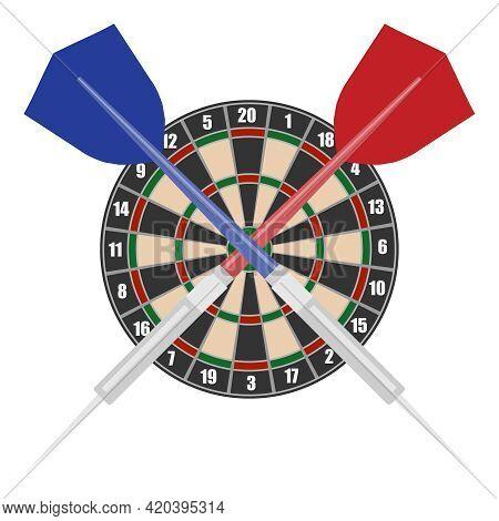 Darts, Realistic Dart Circle With Darts. Vector Illustration. Vector.